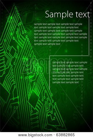 Green background of computer motherboard