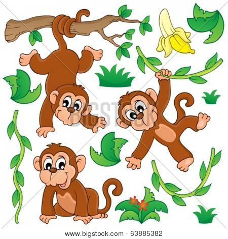 Monkey theme collection 1 - eps10 vector illustration.