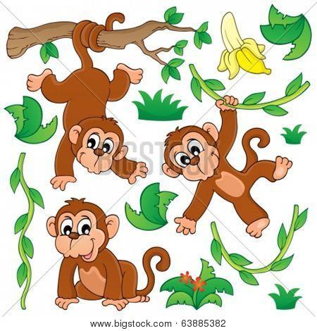Monkey theme collection 1 - eps10 vector illustration.