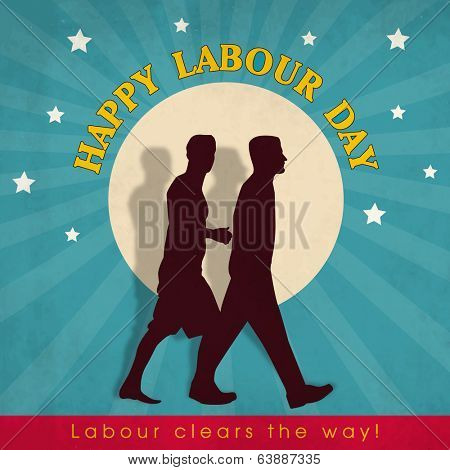 Poster, banner or flyer design with silhouette of two young men holding hands on abstract background, concept for Happy Labour Day.