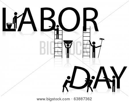 World Labor Day concept with stylish text and silhouette of working workers on abstract white background.