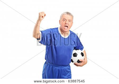 Fanatic football supporter cheering isolated on white background