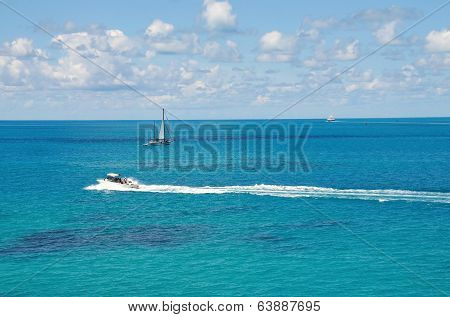 Blue Ocean And Boats