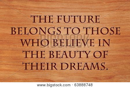 The future belongs to those who believe in the beauty of their dreams - quote by Eleanor Roosevelt on wooden red oak background