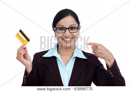 Happy Young Business Woman Holding Credit Card