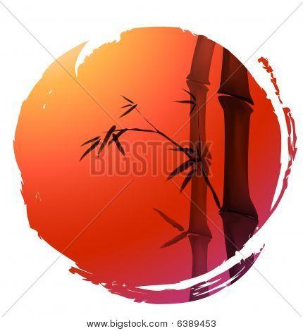 Постер, плакат: Китайская живопись из бамбука, холст на подрамнике
