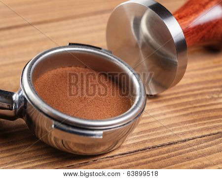 Ground Coffee In Portafilter Tamped