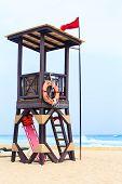 image of playa del carmen  - Lifeguard hut on mexican coast in Playa del Carmen - JPG