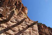 image of pueblo  - Ancient pueblo in Bandelier National Monument - JPG