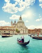 picture of gondolier  - Grand Canal and Basilica Santa Maria della Salute - JPG