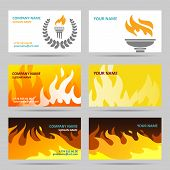 pic of fiery  - Fire fiery flames torch and laurel wreath paper business card set isolated vector illustration - JPG
