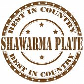 stock photo of shawarma  - Grunge rubber stamp with text Shawarma Plate - JPG