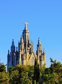foto of sacred heart jesus  - Temple of the Sacred Heart of Jesus on Tibidabo Mountain in Barcelona Catalonia Spain