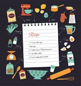 image of recipe card  - Chalkboard meal recipe template vector design with food icons and elements - JPG