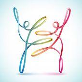 picture of dancing  - Dancing string figures vector - JPG