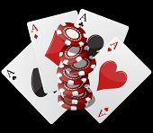 foto of ace spades  - illustration of aces poker with colorful chips casino - JPG