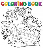 image of noah  - Coloring book Noahs ark theme 1  - JPG