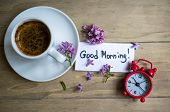 picture of lilac bush  - Cup of coffee Good morning note and lilac flower on the wooden table - JPG