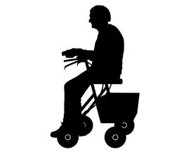foto of rollator  - Detailed and accurate illustration of woman with rollator - JPG