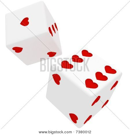 White Dice In Hearts