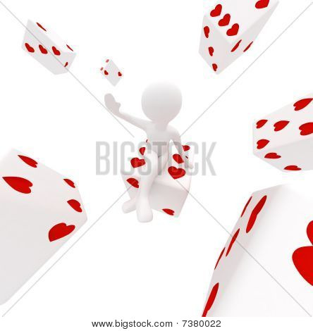 Girl With Dices In Hearts