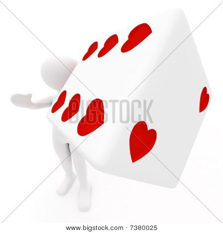 Girl With White Dice In Hearts