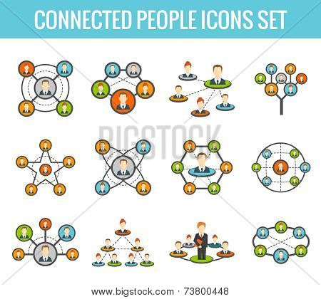 Connected people flat icons set