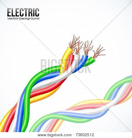 Vector colored plastic cables on white