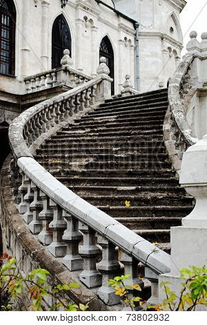 Staircase Of An Old Gothic Church