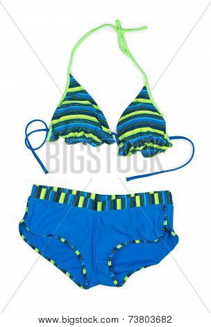Trendy Blue Striped Swimsuit