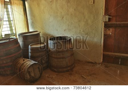 View of the wine barrel room in a derelict abandoned house in Bulgaria