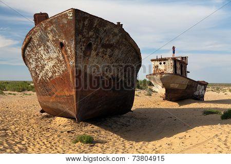 Boats In Desert - Aral Sea