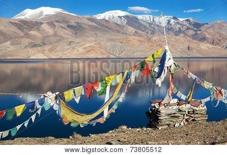 Tso Moriri Lake With Prayer Flags