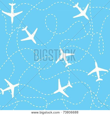Seamless background airplanes flying with dashed lines as tracks or routes on blue sky