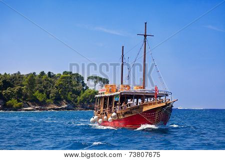 Tourist Boat In The Croatia Sea