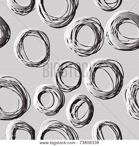 Sketched Circles, Under Microscope Look Like. Vector Illustration.
