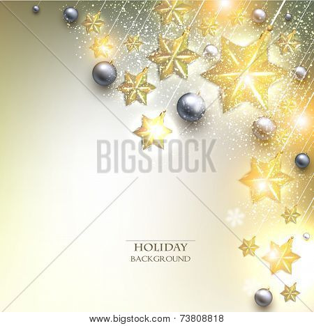 Elegant Christmas background with stars garland. Vector illustration