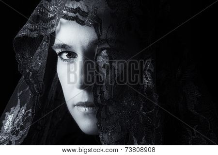 Middle Eastern Woman Portrait Looking Sad With Black Hijab Artistic Conversion