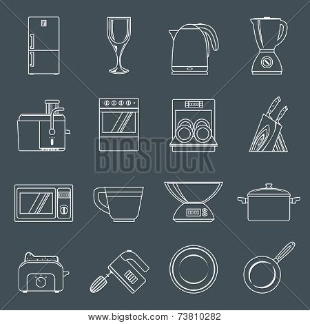 Kitchen appliances icons outline