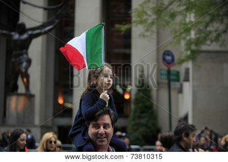 Young marcher with Italian flag