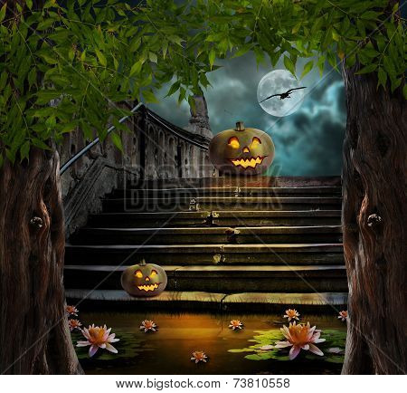 Halloween Pumpkins In Yard Of Of Old Stone Staircase Night In Bright Moonlight