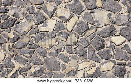 Wall Of Black Volcanic Rocks Closeup