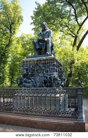 Monument To Ivan Krylov In The Summer Garden In St Petersburg