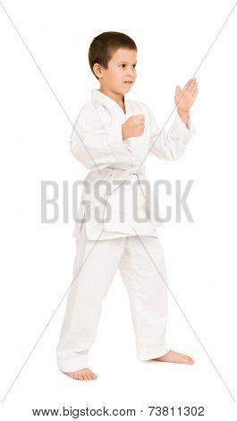 boy in white kimono for martial arts posing