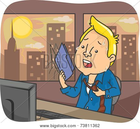 Illustration Featuring a Man Sweating Profusely in His Office