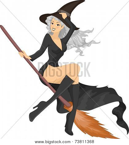 Illustration Featuring a Woman Wearing a Witch Costume