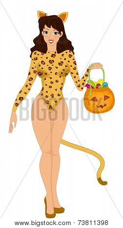 Illustration Featuring a Woman Trick or Treating in a Cat Costume