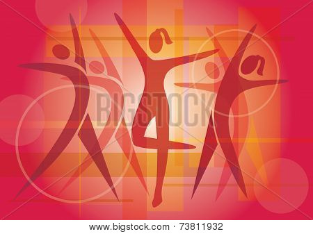 Fitness dancie colorful background