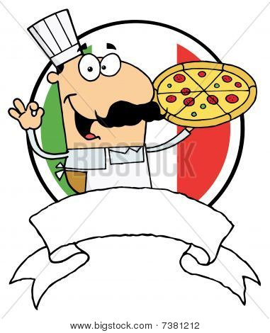 Pleased Male Pizza Chef With His Perfect Pie In Front Of Flag Of Italy