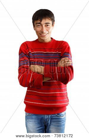 Smiling Man In Striped Sweater